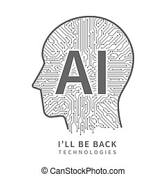 Science technology vector background. Artificial intelligence engineering concept with cyborg head