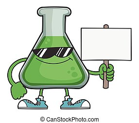 Science test tube with sunglasses holding sign post