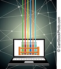 Science test tubes on computer screen illustration