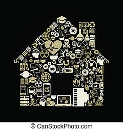 The house made of a science of subjects. A vector illustration