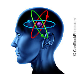 Atom molecule science symbol as a brain of scientific mind thinker as multi color isolated on white concept.