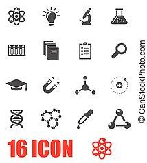 science, vecteur, ensemble, gris, icône