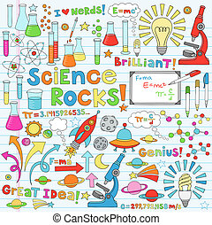 science, vecteur, illustration, doodles