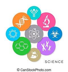 science, vecteur, moderne, coloré, icônes