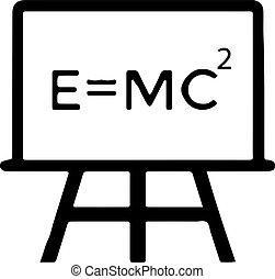 science, vecteur, molécule, isolé, formule, einstein, atome, e=mc2, physique, fond, icône