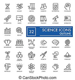 Science vector icons set. Education and Knowledge Icons isolated on white. Flat thin outline design. eps 10