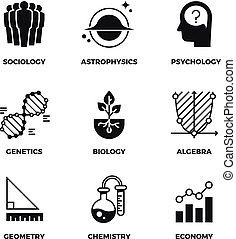 Science vector icons set. Genetics and economy, algebra and chemistry. Geometry and biology, psychology and astrophysics, sociology symbols