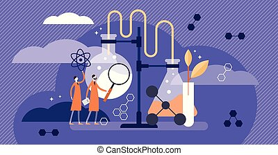Science vector illustration. Flat medical pharmacy example...