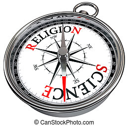 science versus religion concept compass isolated on white ...