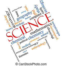 Science Word Cloud Concept Angled