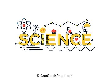 Illustration of SCIENCE word in STEM - science, technology, engineering, mathematics education concept typography design with icon ornament elements
