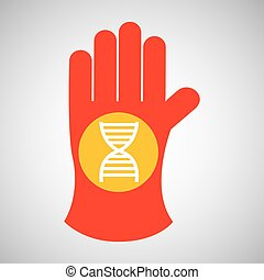 sciencie glove and dna structure icon