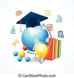 sciense, concept., vetorial, educação