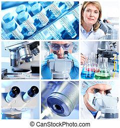 Scientific background collage.
