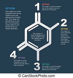 scientific background, frame in the form of molecules,...