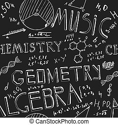 The illustration of beautiful black scientific background with chalk handwriting. Shcool class blackboard. Totally vector fully scalable image with white handwritten text.