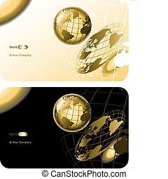scientific business card - scientific background with golden...