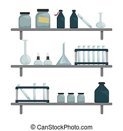 Scientific chemical laboratory. Wall shelves with scientific...