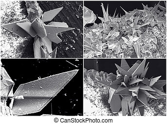 Scientific collage. Crystal in electron microscope