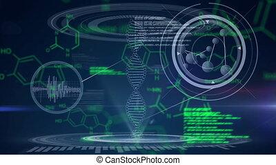 Scientific data in green and grey on a dark background