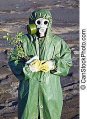 Scientific Environmentalist gently hugs a plant
