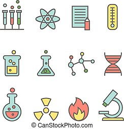 Scientific experiments, chemistry and bio technology line icons