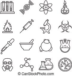 Scientific experiments, chemistry and bio technology vector line icons