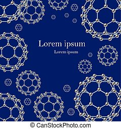 Scientific futuristic abstract background with fullerene molecules on blue.