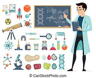 Scientific Icons Set - Scientific icons set with scientist...