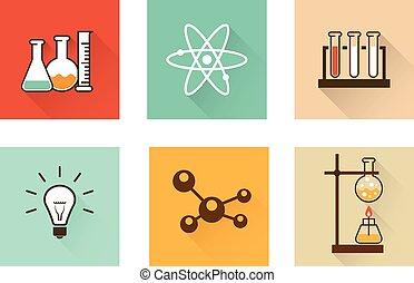 Scientific laboratory flat icons