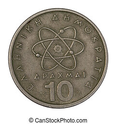 scientific model or symbol of atom schematically represented on old circulated 10 drachma Greek coin from 1976, isolated on white with clipping path