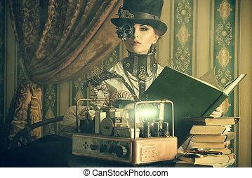 scientific - Portrait of a beautiful steampunk woman over...