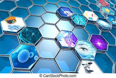 scientific research concept hexagonal backdrop, 3d...