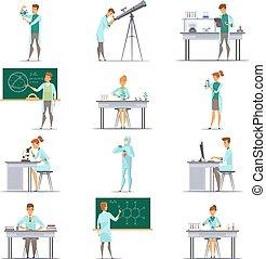 Scientific Research Retro Cartoon Icons Collection
