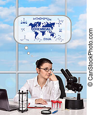 woman thinking about the development of science