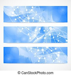 Scientific set of modern vector banners. DNA molecule...