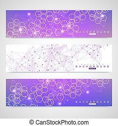 Scientific set of modern vector banners. DNA molecule...