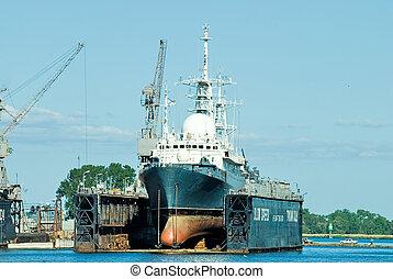 scientific ship in dry dock