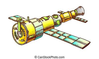 Scientific Space Exploring Satellite Color Vector - ...