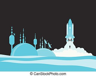 Scientific station. Launch of the spaceship. Colonization of the planet. Vector illustration