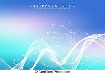 Scientific vector illustration genetic engineering and gene manipulation concept. DNA helix, DNA strand, molecule or atom, neurons. Abstract structure for Science or medical background. CRISPR CAS9