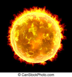 Sun isolated on black background - Scientifically accurate...