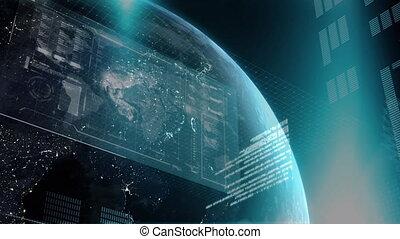 scientifique, écran, espace, animation, sur, globe