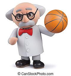 scientifique, basket-ball, caractère, tenue, 3d