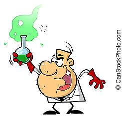 scientifique, caractère, dessin animé, fou