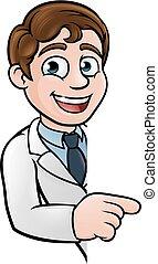 scientifique, caractère, dessin animé, pointage, signe