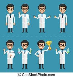 scientifique, caractère, poses, divers
