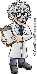 scientifique, caractère, presse-papiers, tenue, dessin animé