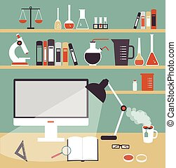 scientifique, chimiste, illustration, bureau