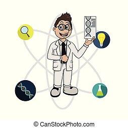 scientifique, compétence, elle